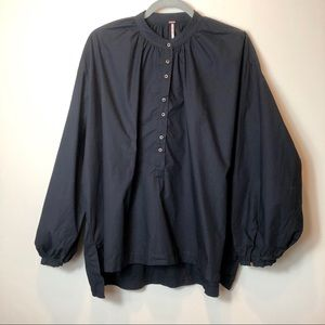 Free People Black Oversized Popover Shirt